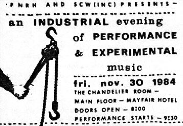 Front side of ticket for Chandelier Performance Nov 1984